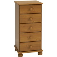 Richmond Narrow Chest Of Drawers In Pine With 5 Drawers