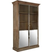 Product photograph showing Mintaka Wooden Display Cabinet In Brown With 2 Doors