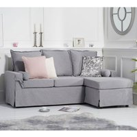 Product photograph showing Riggs Linen 3 Seater Reversible Corner Chaise Sofa In Blue