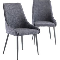 Product photograph showing Rimini Blue Fabric Dining Chairs In Pair