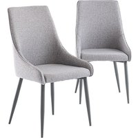 Product photograph showing Rimini Mineral Grey Fabric Dining Chairs In Pair