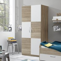 Product photograph showing Rimini Childrens Wardrobe In Sawn Oak And White
