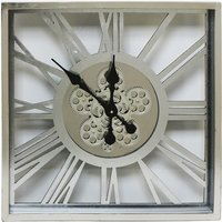Product photograph showing Rinan Square Wall Clock In Silver With Roman Numerals