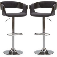 Product photograph showing Rita Charcoal Fabric Gas Lift Bar Stool In Pair