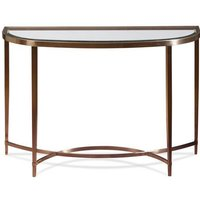 Product photograph showing Ritz Glass Console Table In Clear And Brushed Antique Brass
