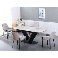 Riva Extending Ceramic Dining Table With 6 Riva Grey Chairs
