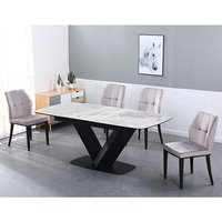 Product photograph showing Riva Extending Ceramic Dining Table With 6 Romano Grey Chairs