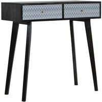 Product photograph showing Riva Wooden Console Table In Black And Blue Mirabelle Print