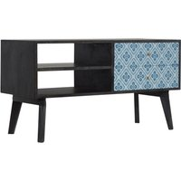 Product photograph showing Riva Wooden Tv Stand In Ash Black And Lucy Locket Print