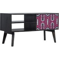 Product photograph showing Riva Wooden Tv Stand In Ash Black And Pink Helsinki Print
