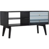 Product photograph showing Riva Wooden Tv Stand In Black And Blue Mirabelle Print