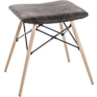 Product photograph showing Riverhead Faux Leather Stool In Grey With Beech Legs