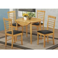 Rivero Drop Leaf Dining Table Round In Light Oak And 4 Chairs