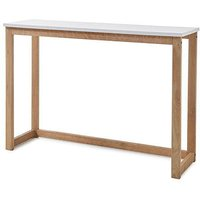 Product photograph showing Riverside Wooden Console Table In Matt White And Oak
