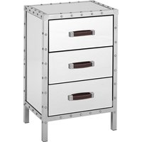 Rivota Mirrored Bedside Cabinet With White Wooden Drawers