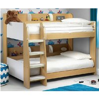 Product photograph showing Robin Wooden Bunk Bed In Maple And White With Ladder