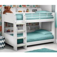 Product photograph showing Robin Wooden Bunk Bed In White With Ladder