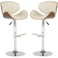Product photograph showing Rocco Cream Faux Leather Gas Lift Bar Stool In Pair