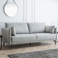 Product photograph showing Rohnerville Fabric Upholstered 3 Seater Sofa In Platinum Wool Effect