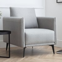 Product photograph showing Rohnerville Fabric Upholstered Armchair In Platinum Wool Effect