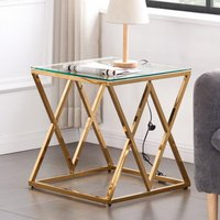 Product photograph showing Roma Clear Glass Side Table With Gold Stainless Steel Legs
