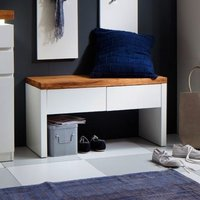 Romina Shoe Bench In Knotty Oak And Matt White With 2 Drawer