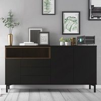 Product photograph showing Romtree Wooden 3 Doors 3 Drawers Sideboard In Black And Walnut