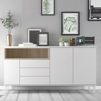 Product photograph showing Romtree Wooden 3 Doors 3 Drawers Sideboard In White And Oak