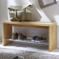 Ronde Wooden Shoe Storage Bench In Oak With Chrome Shelf