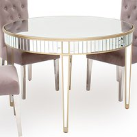 Rosa Wooden Mirrored Round Dining Table In Silver