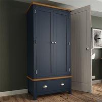 Product photograph showing Rosemont Wooden 2 Doors 1 Drawer Wardrobe In Dark Blue