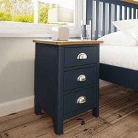 Rosemont Wooden 3 Drawers Bedside Cabinet In Dark Blue