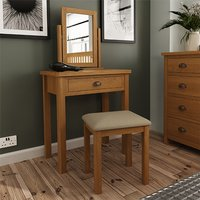 Rosemont Wooden Dressing Table With Stool In Rustic Oak
