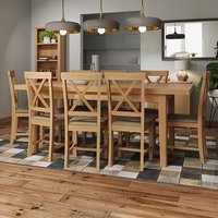 Rosemont Extending 160cm Rustic Oak Dining Table With 8 Chairs