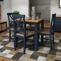 Product photograph showing Rosemont Square Dining Table In Dark Blue With 4 Chairs
