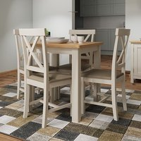 Product photograph showing Rosemont Square Dining Table In Dove Grey With 4 Chairs