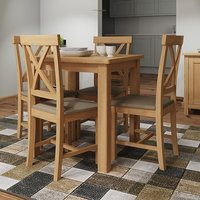 Product photograph showing Rosemont Square Dining Table In Rustic Oak With 4 Chairs