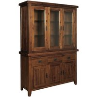 image-Ross Display Cabinet In Acacia Finish With Three Mirrored Door