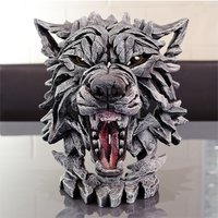 Product photograph showing Rotanev Wolf Bust Edge Sculpture Ornament