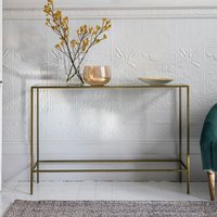 Product photograph showing Rothmont Clear Glass Console Table With Bronze Metal Frame