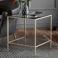 Product photograph showing Rothmont Clear Glass Side Table With Champagne Metal Frame