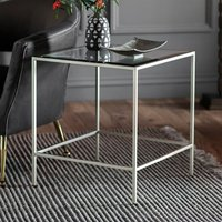 Product photograph showing Rothmont Clear Glass Side Table With Silver Metal Frame