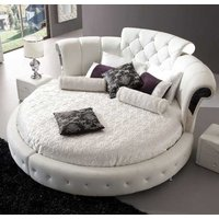 Romantica Round Chesterfield Style Bed In White Bonded Leather