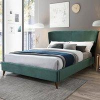 Rowan Fabric Double Bed In Green Velvet