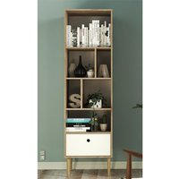 Product photograph showing Roxo Wooden 1 Drawer Bookcase In Oak And White