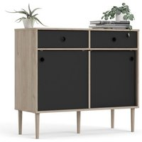 Product photograph showing Roxo Wooden 2 Doors And 2 Drawers Sideboard In Oak And Black