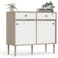 Product photograph showing Roxo Wooden 2 Doors And 2 Drawers Sideboard In Oak And White