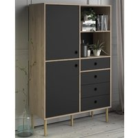 Product photograph showing Roxo Wooden 2 Doors And 4 Drawers Bookcase In Oak And Black
