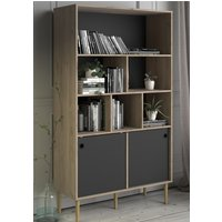 Product photograph showing Roxo Wooden 2 Sliding Doors Bookcase In Oak And Black