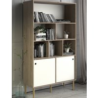 Product photograph showing Roxo Wooden 2 Sliding Doors Bookcase In Oak And White
